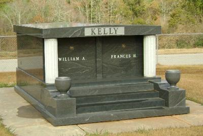 2 CRYPT WITH VASES BLACK GRANITE